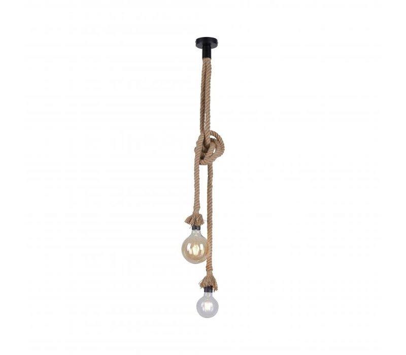 Hanglamp Rope 2 lichts H 120 cm bruin-zwart