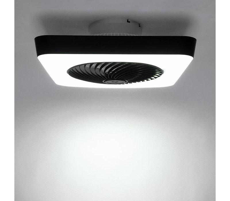 Plafondventilator Climo vierkant B 55 cm wit-zwart