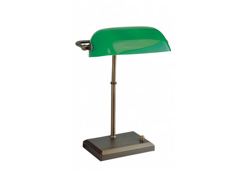 Artdelight Tafellamp Bankers H 37 cm brons groen