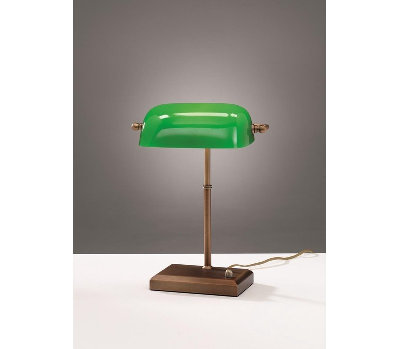 Tafellamp Bankers H 37 cm brons groen