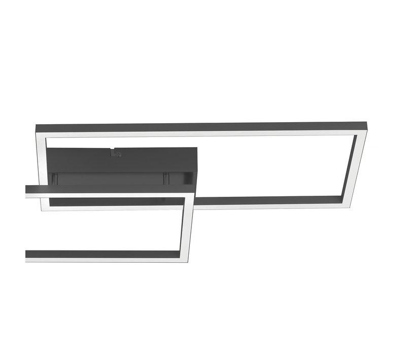 Plafondlamp Iven remote L 60 cm B 32 cm zwart