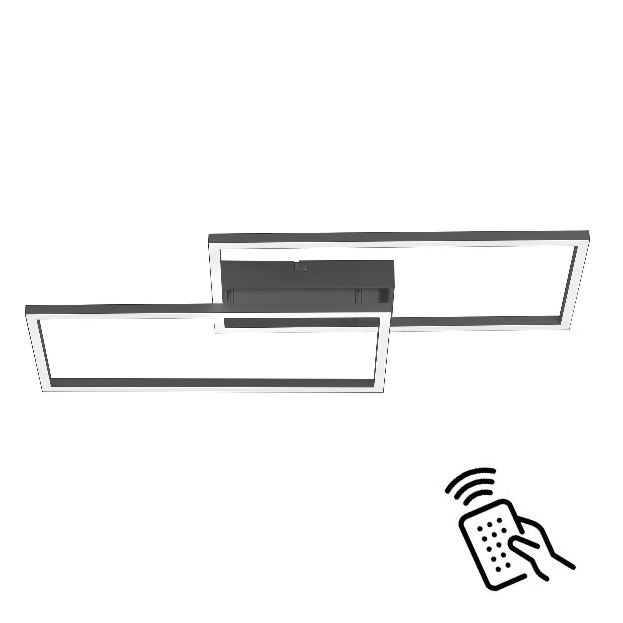 Paul Neuhaus Plafondlamp Iven remote L 60 cm B 32 cm zwart