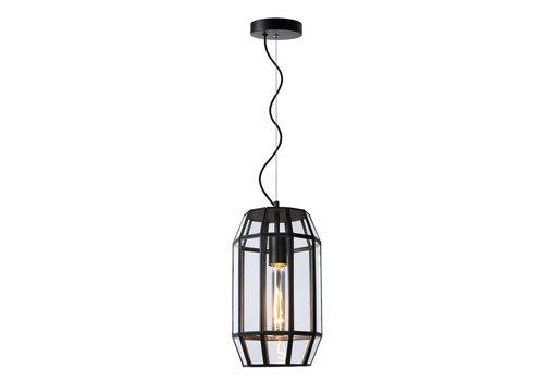 Lucide FERN Hanglamp E27/60W Ø20cm H35cm Zwart /Glas