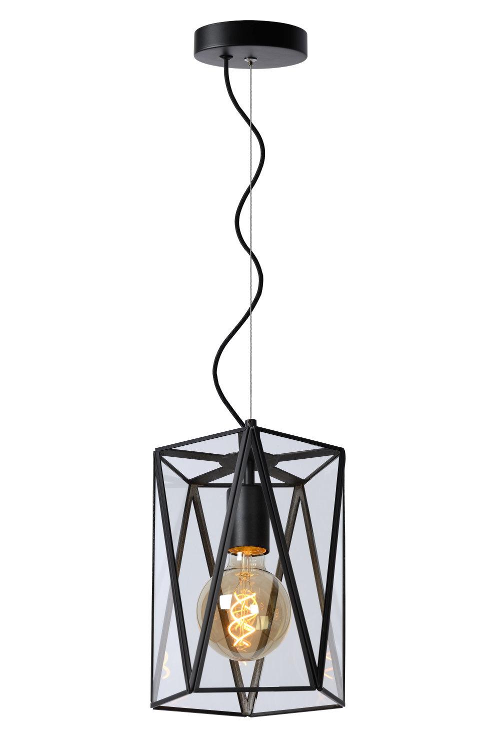 Lucide FERN Hanglamp E27/60W Ø20cm H25cm Zwart /Glas