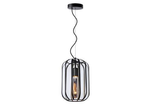 Lucide FERN Hanglamp E27/60W Ø20cm H30cm Zwart /Glas