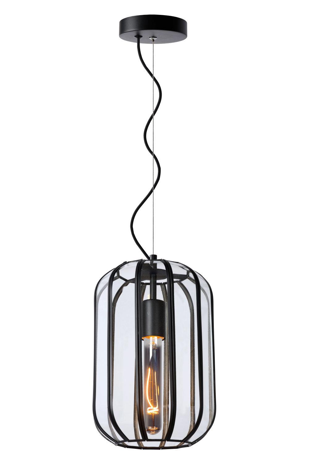 Lucide FERN Hanglamp-Zwart-Ø20-1xE27-60W-Glas
