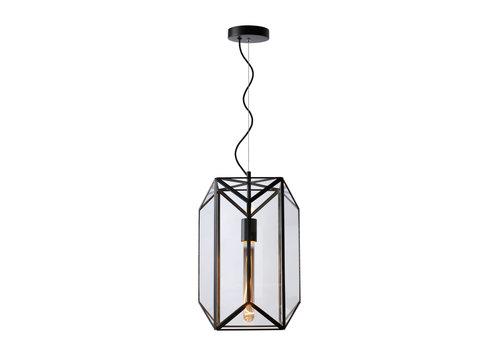 Lucide FERN Hanglamp E27/60W Ø28 cm H 40cm Zwart /Glas