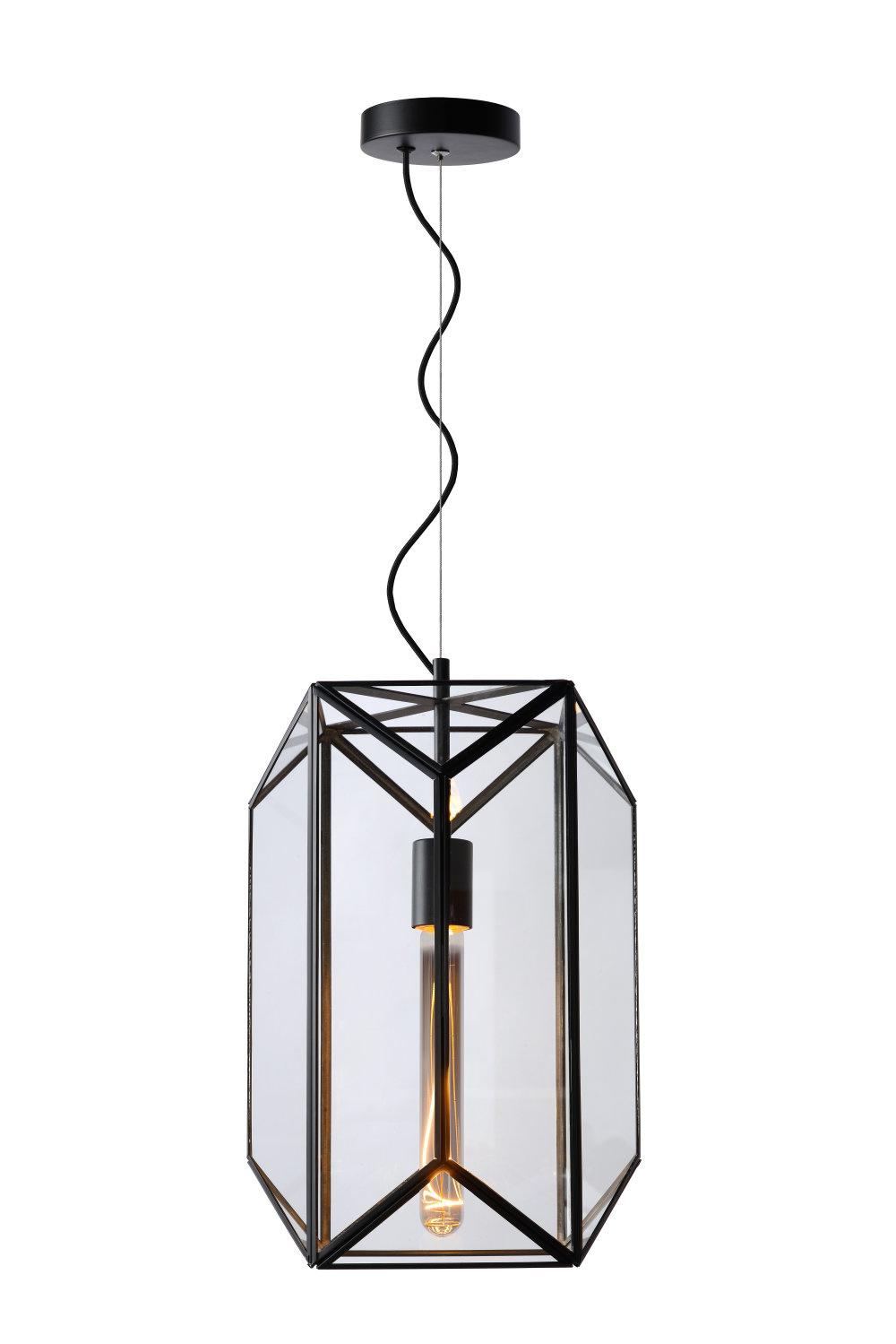 Lucide FERN Hanglamp-Zwart-Ø28-1xE27-60W-Glas