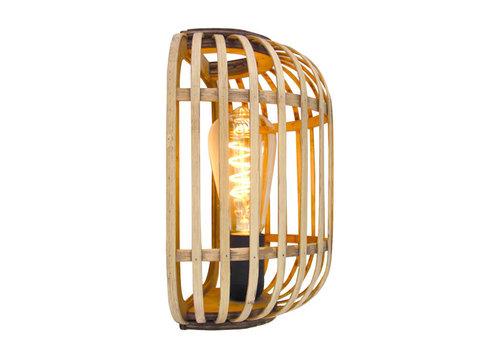 Freelight Wandlamp Treccia Rotan H 26 cm beige zwart