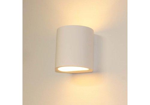 Artdelight Wandlamp Plaster rond H 12 cm Gips excl. G9 wit
