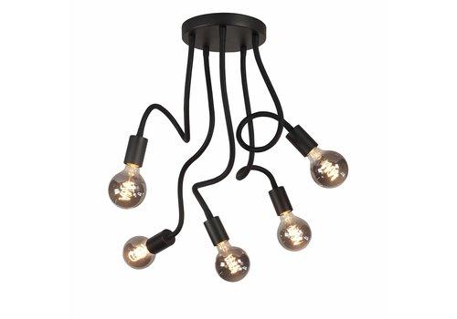 Highlight Plafondlamp Flex  5 lichts 50 cm E27 zwart