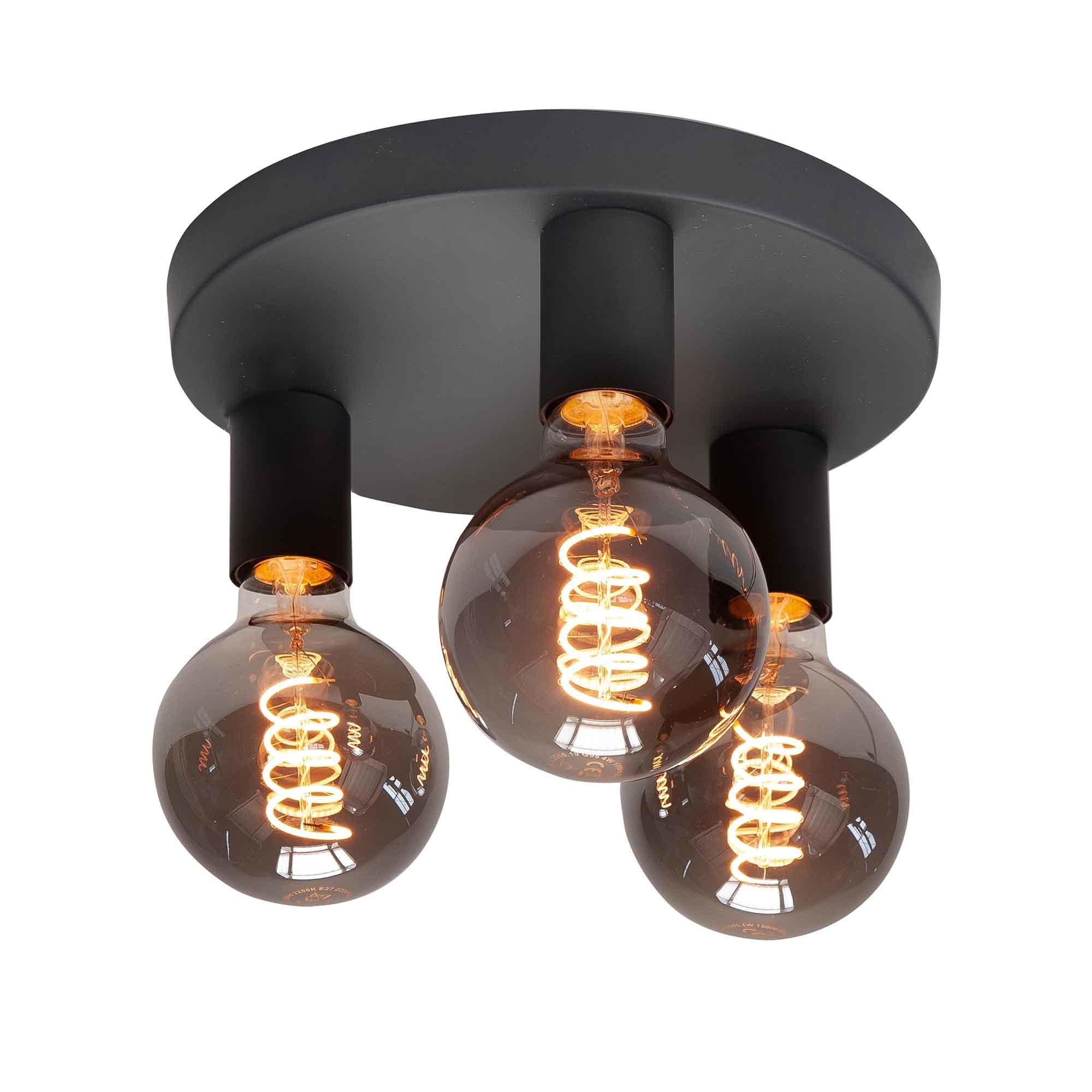 Highlight Plafondlamp Basic 3 lichts Ø 25 cm E27 zwart