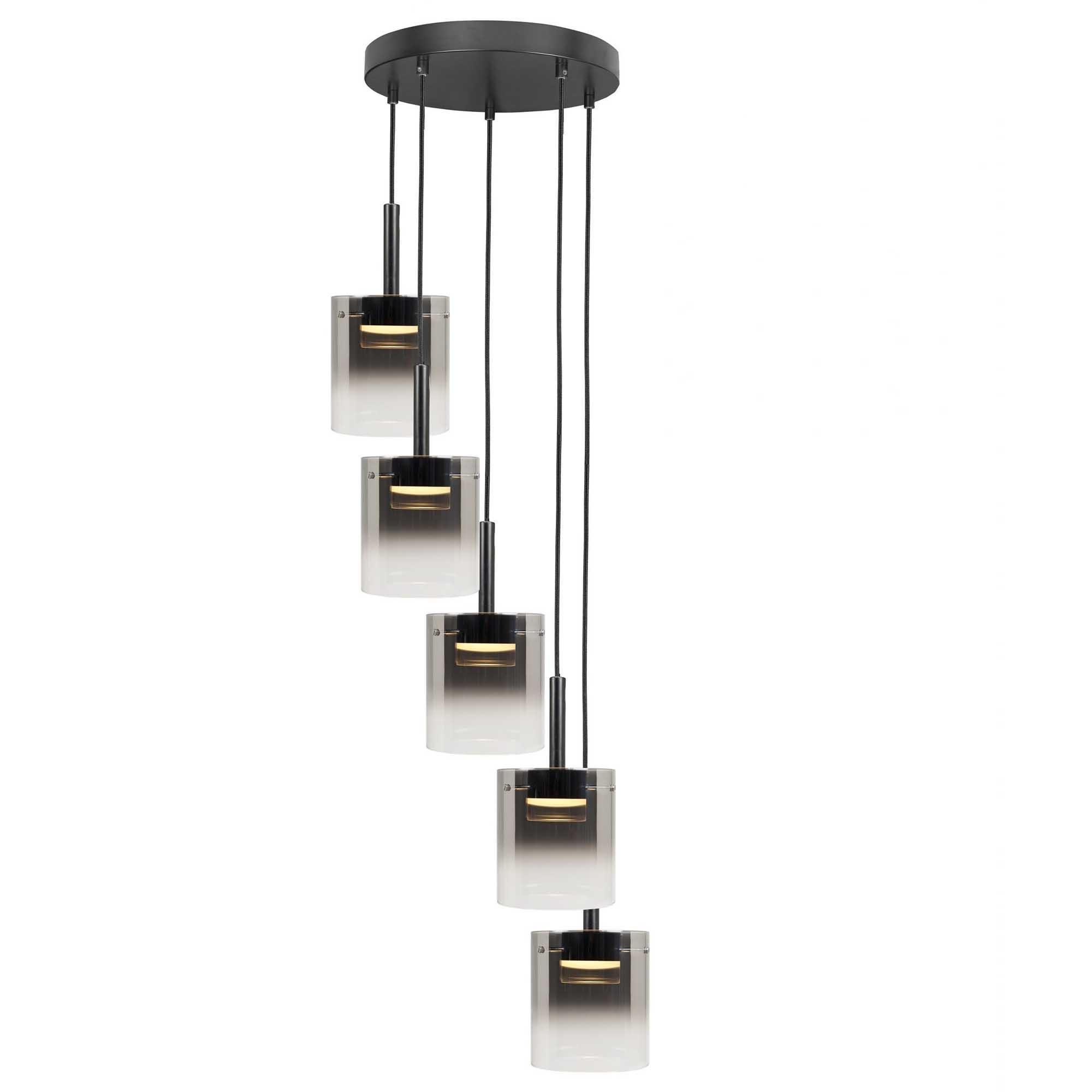 Highlight Hanglamp Salerno 5 lichts Ø 45 cm zwart
