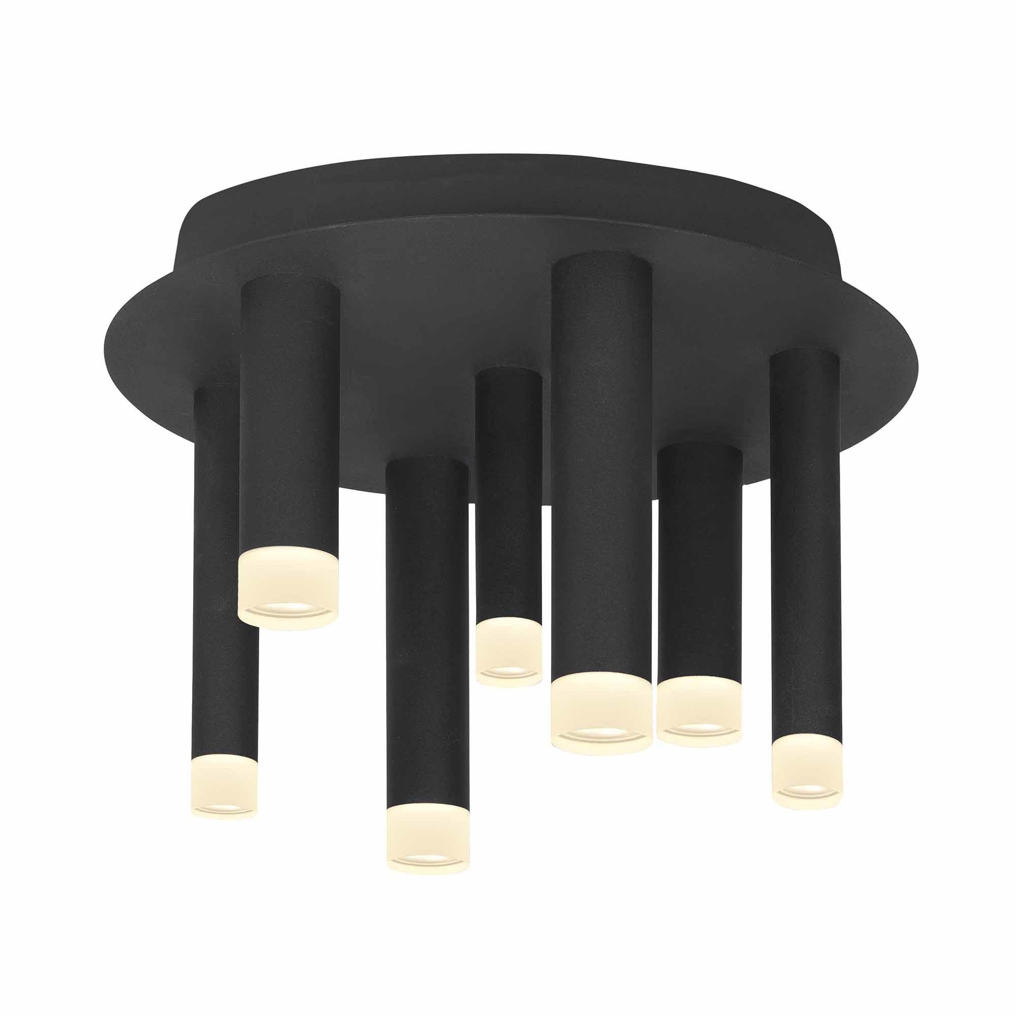 Highlight Plafondlamp Tubes 7 lichts Ø 30 cm zwart