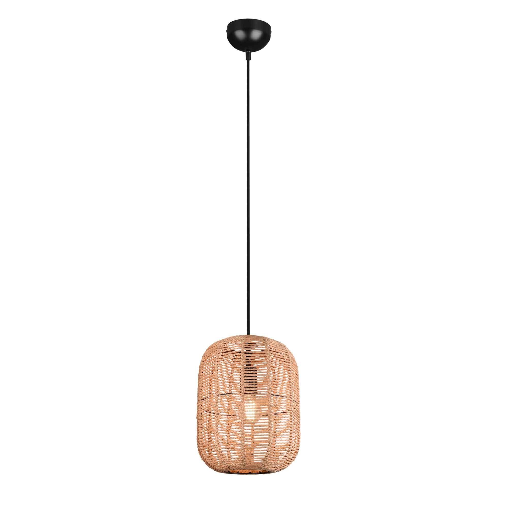 Trio Leuchten Hanglamp Runa touw 1 lichts � 25 cm beige zwart