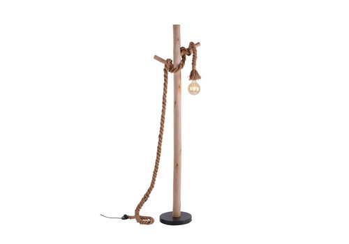 Paul Neuhaus Vloerlamp Rope H 150 cm bruin-zwart