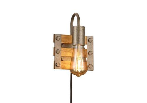 Trio Leuchten Wandlamp Khan 1 lichts hout - mat chroom