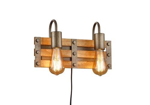 Trio Leuchten Wandlamp Khan 2 lichts hout - mat chroom