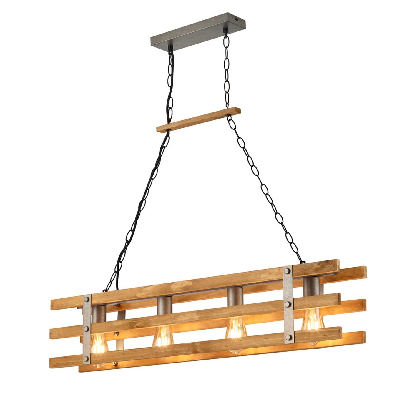 Trio Leuchten Hanglamp Khan L 100 cm hout - mat chroom