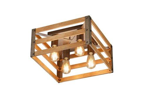 Trio Leuchten Plafondlamp Khan 40 x 40 cm hout - mat chroom