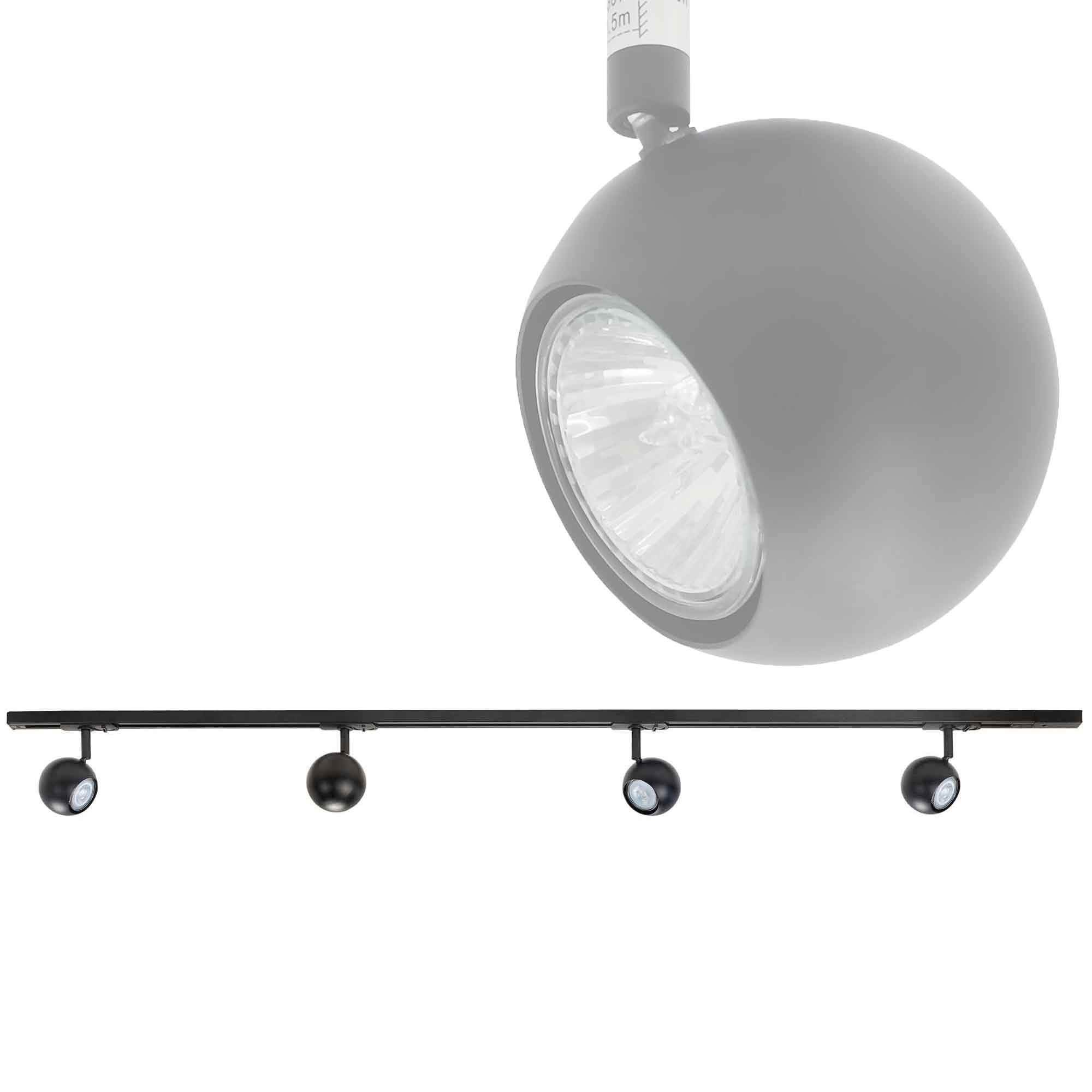 Highlight Railsysteem Trackline 150 cm + 4 retrobol spots zwart