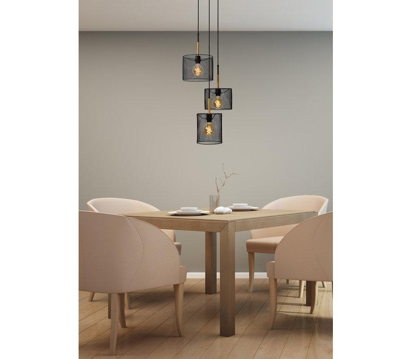 BASKETT Hanglamp 3xE27/40W Zwart/Hout