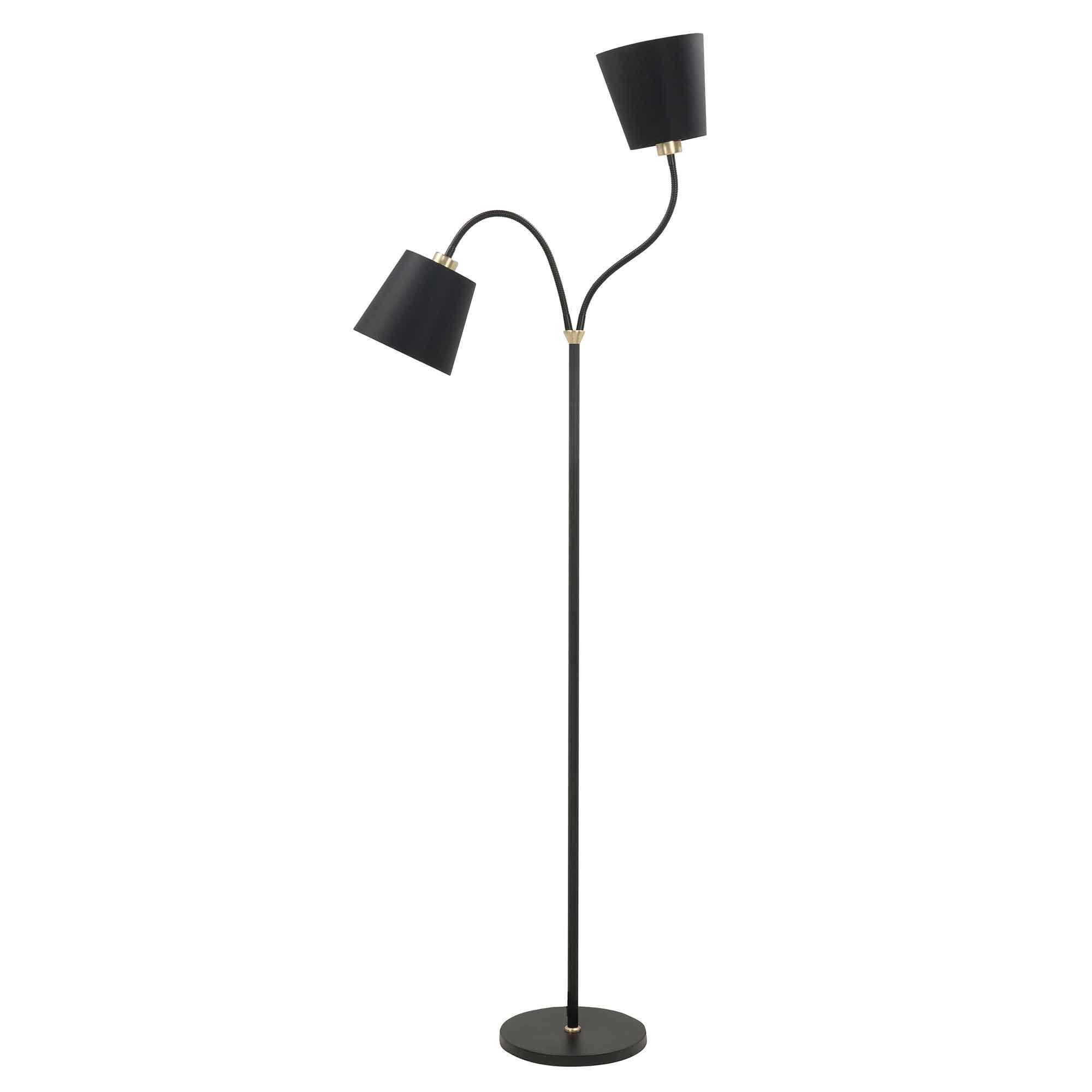 Highlight Vloerlamp Texas 2 lichts H 140 cm zwart goud