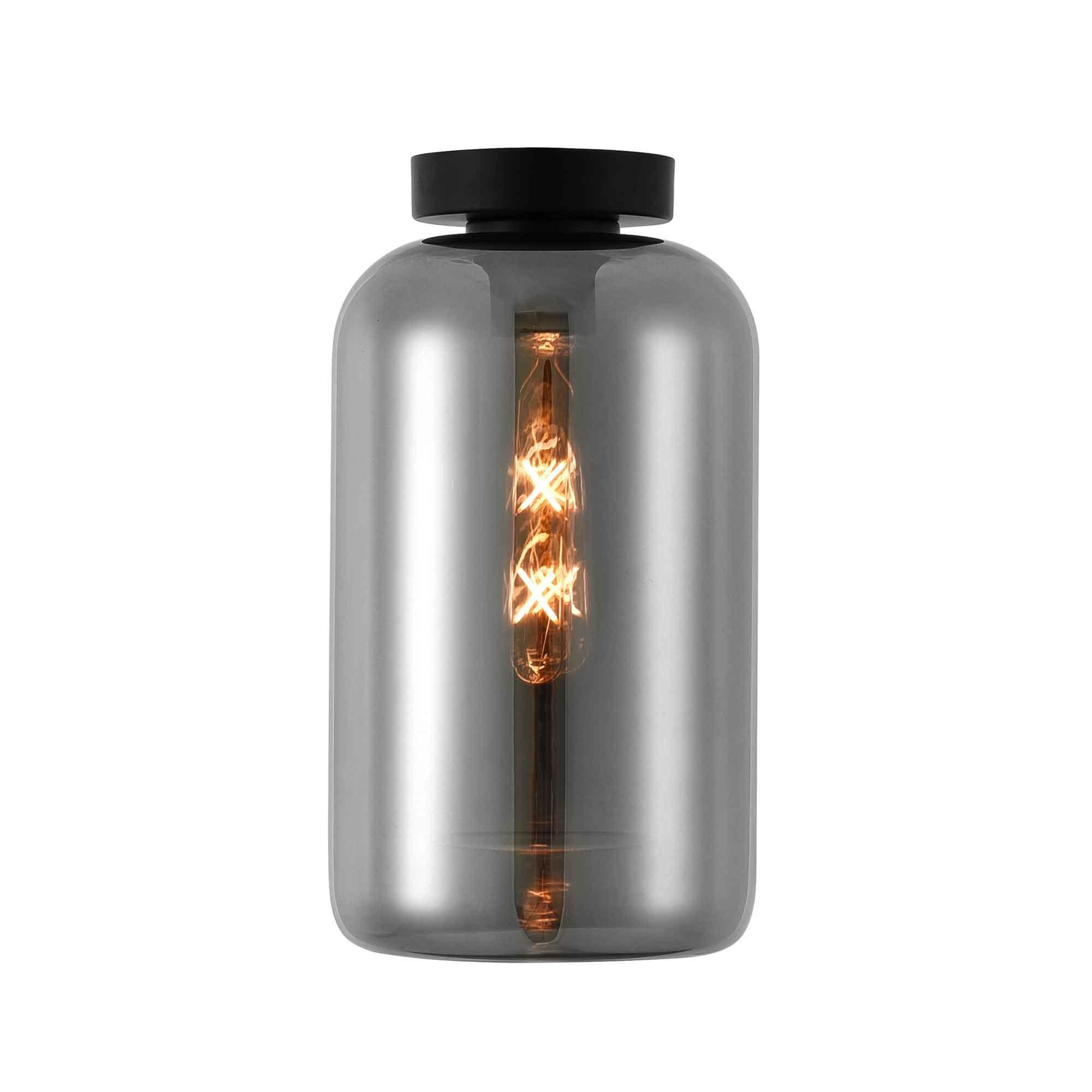 Artdelight Plafondlamp Botany Ø 18 cm rook glas zwart