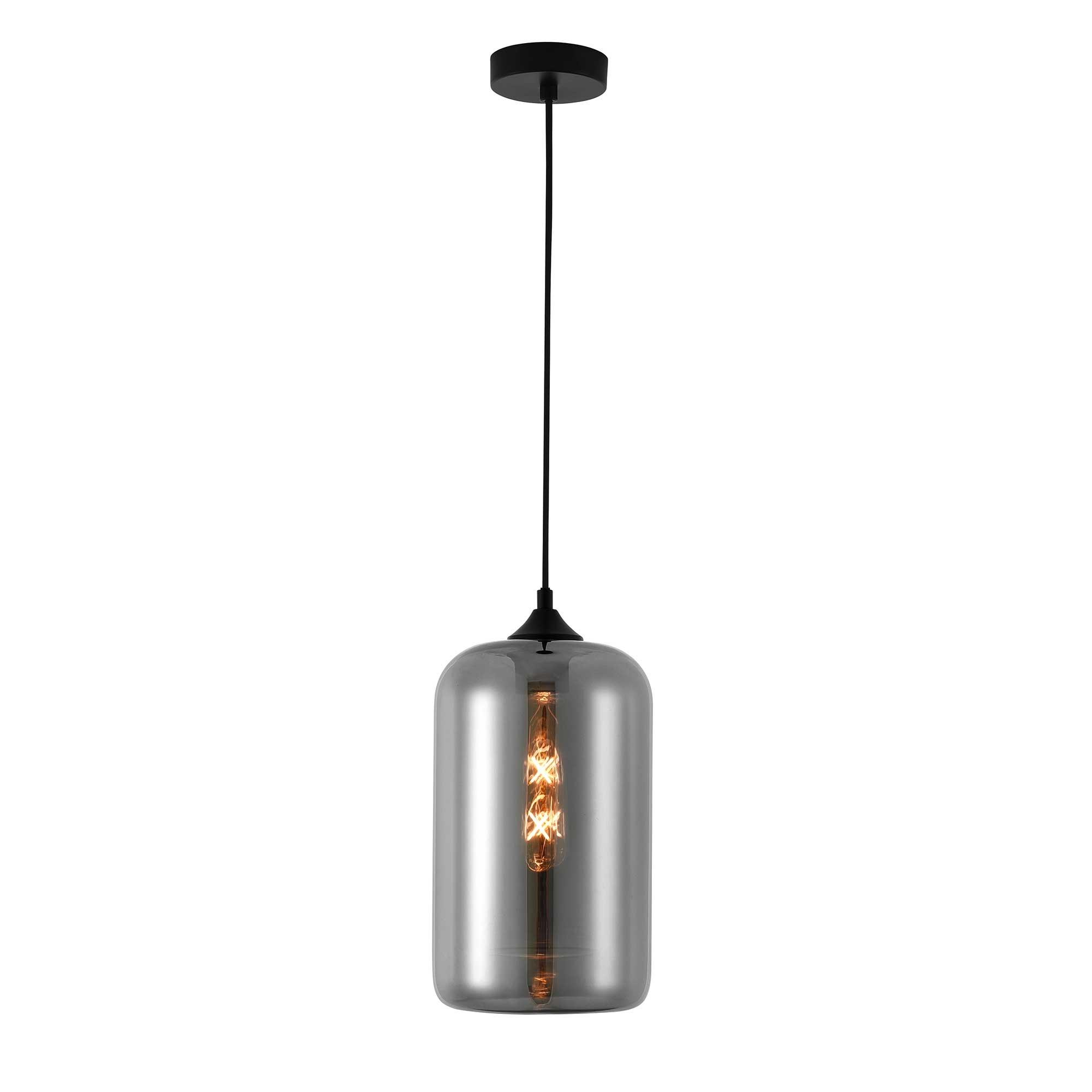 Artdelight Hanglamp Botany Ø 18 cm rook glas zwart