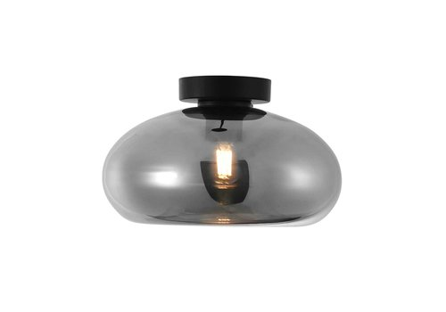 Artdelight Plafondlamp Paradise Ø 28 cm rook glas zwart
