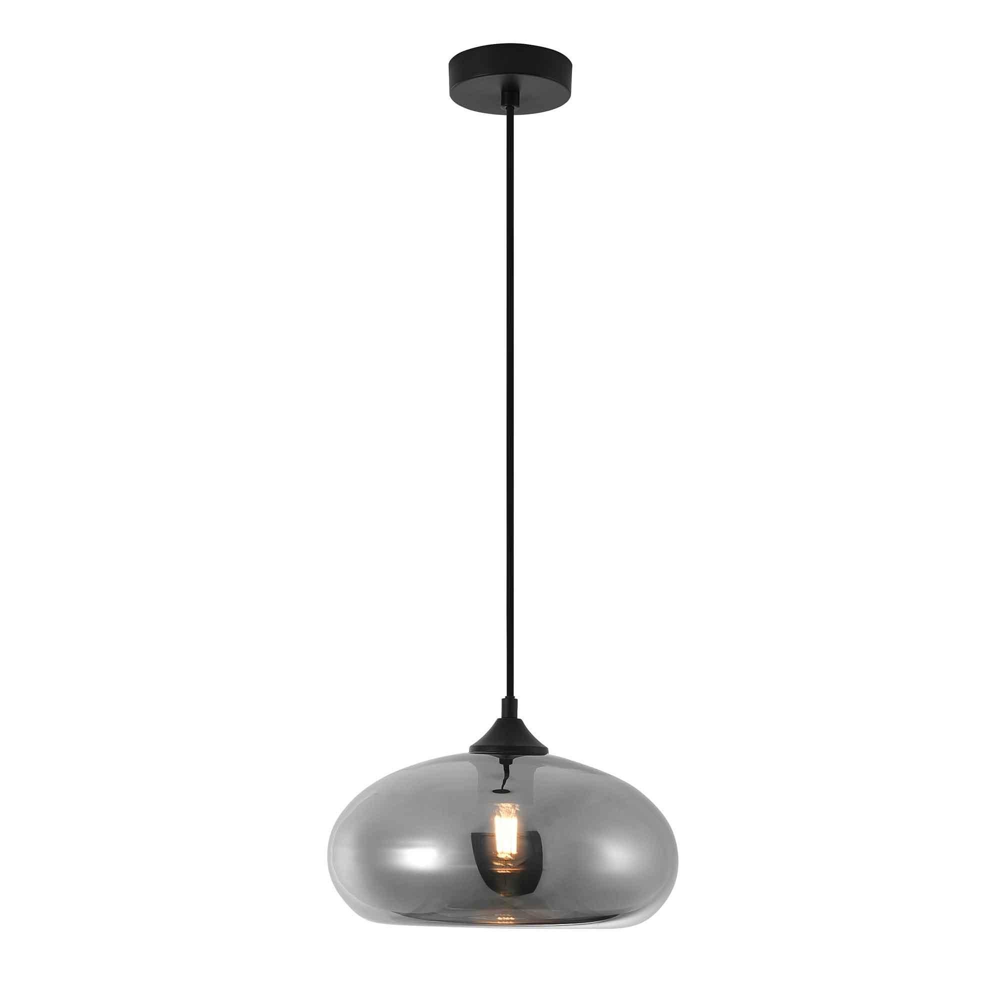 Artdelight Hanglamp Paradise Ø 28 cm rook glas zwart