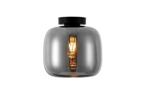 Artdelight Plafondlamp Preston Ø 24 cm rook glas zwart