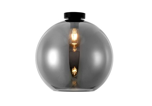 Artdelight Plafondlamp Marino Ø 40 cm rook glas zwart