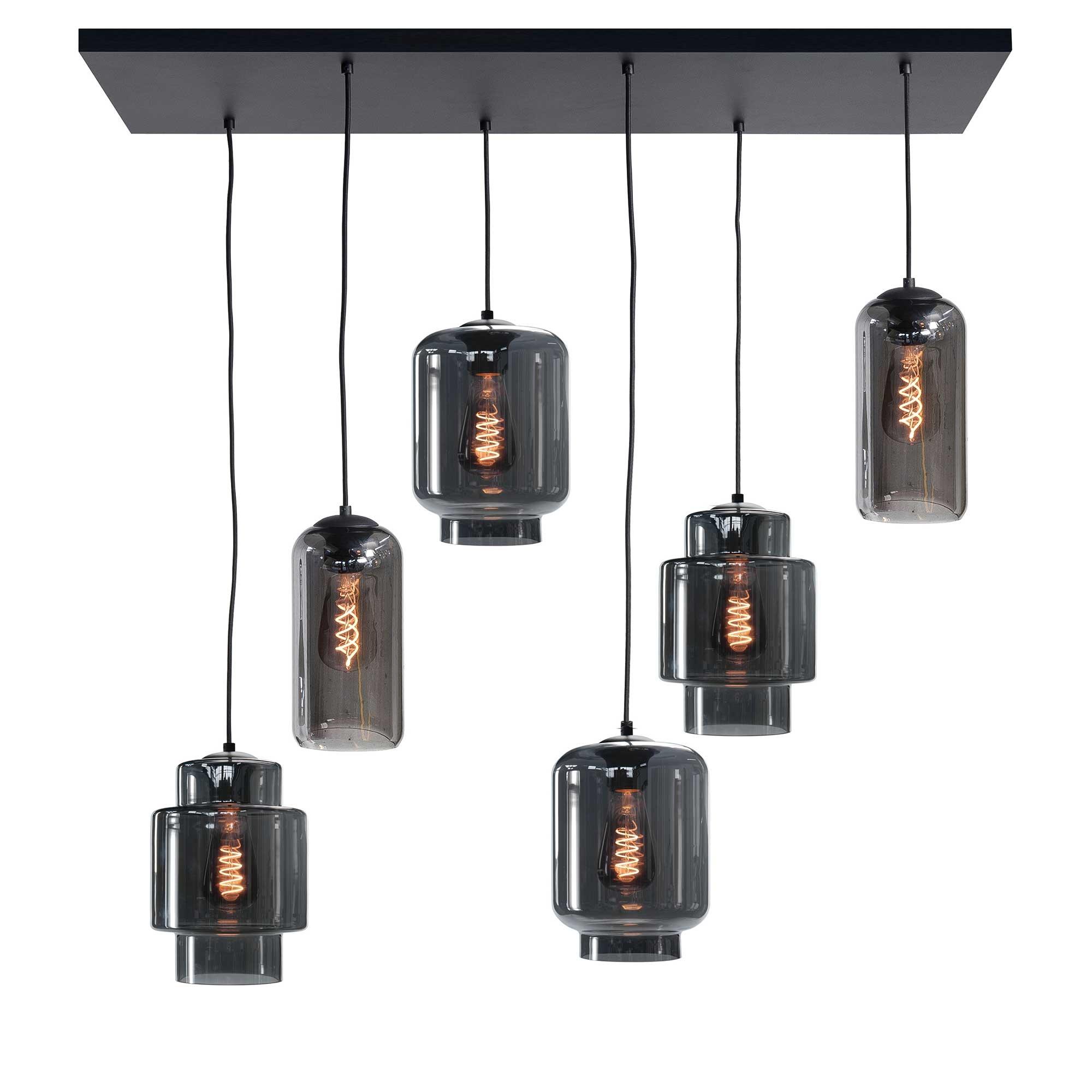 Highlight Hanglamp Fantasy Moderno 6 lichts L 100 x B 35 cm rook zwart