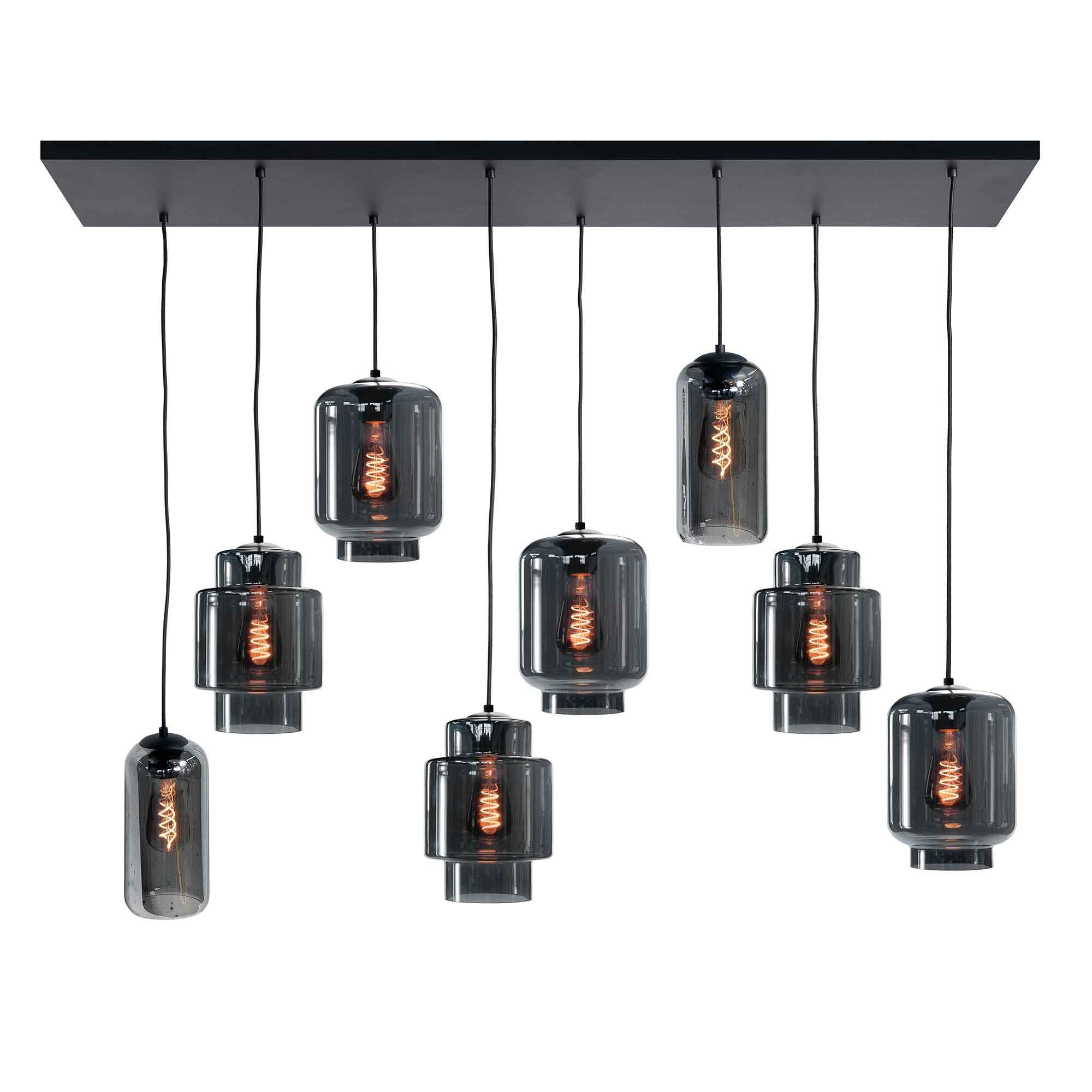 Highlight Hanglamp Fantasy Moderno 8 lichts L 130 x B 35 cm rook zwart