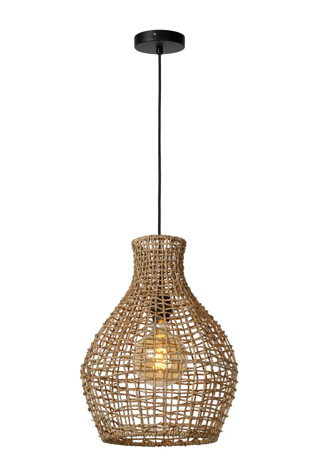 Lucide ALBAN Hanglamp E27/40W Rotan Licht Hout