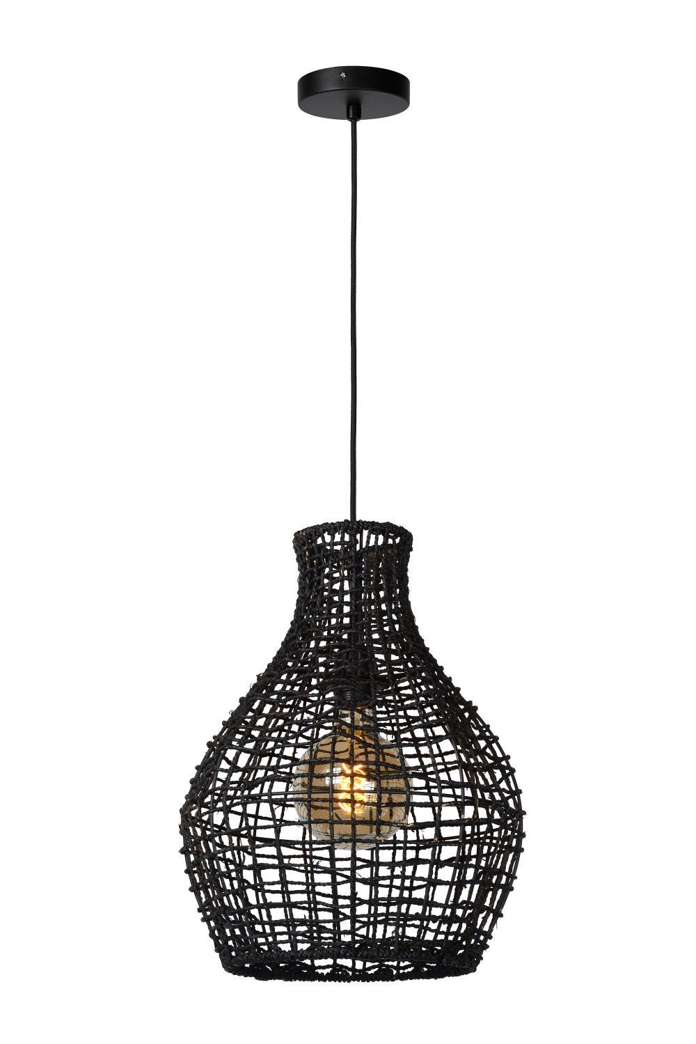 Lucide ALBAN Hanglamp E27/40W Rotan Zwart