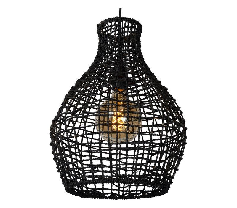 ALBAN Hanglamp-Zwart-Ø35-1xE27-40W-Rotan