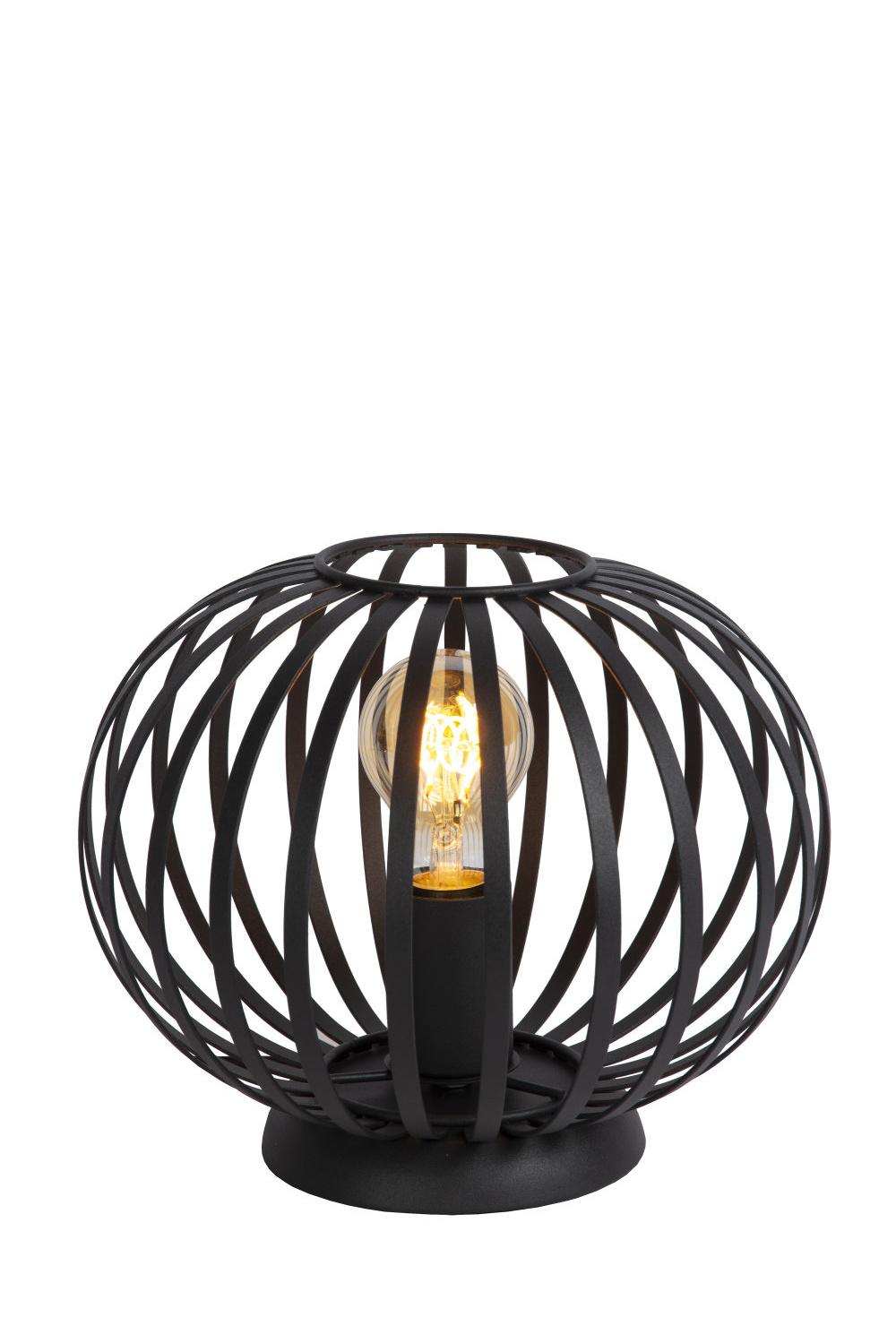 Lucide MANUELA Tafellamp-Zwart-Ø25,5-1xE27-40W-Metaal