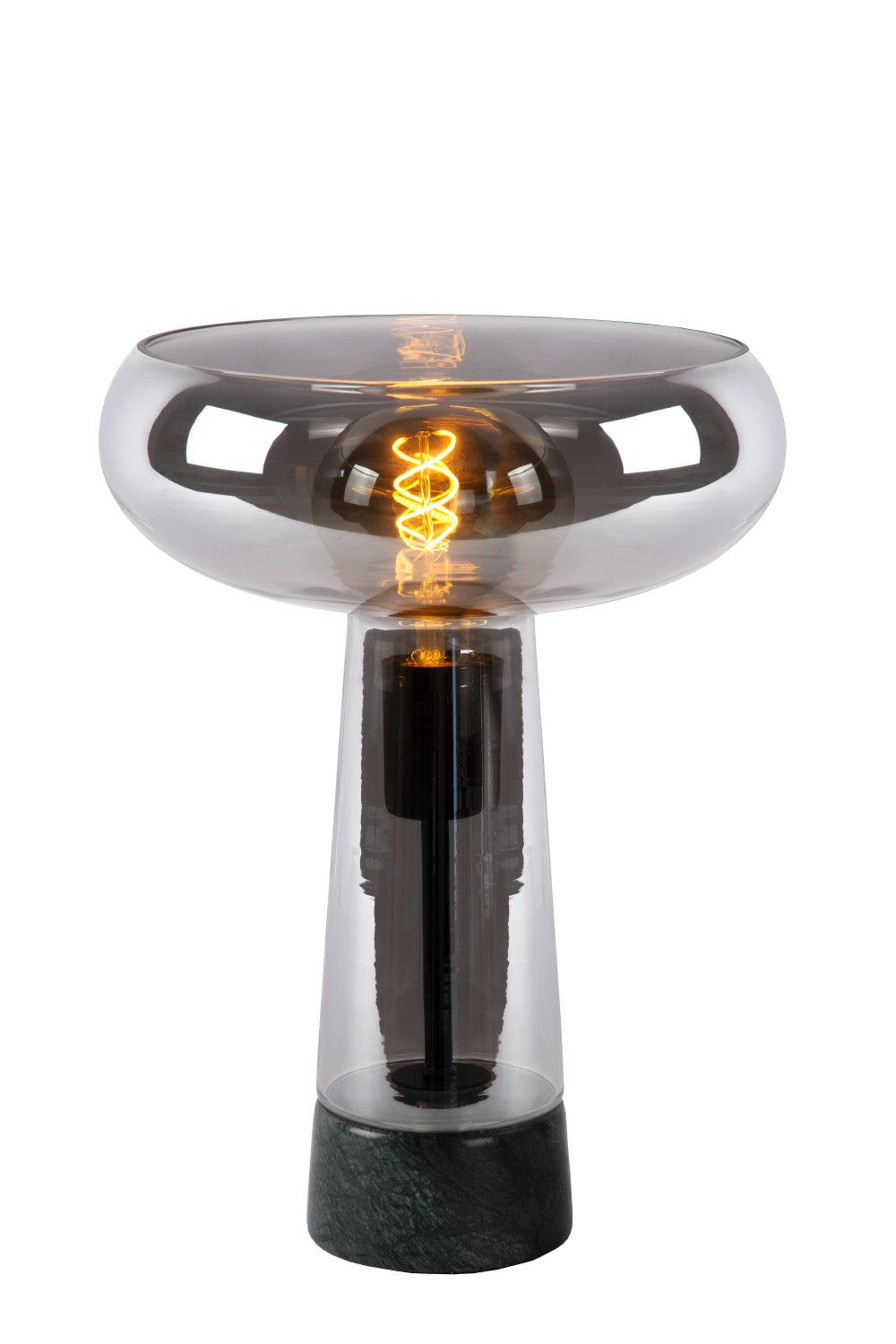 Lucide LISTELLE Tafellamp-Fumé-Ø28-1xE27-40W-Glas