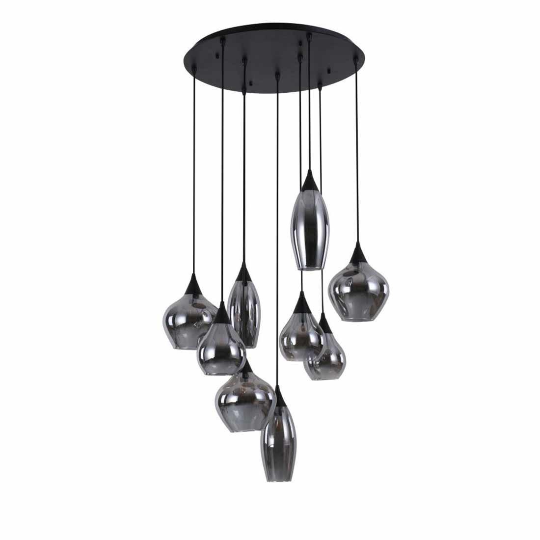 Highlight Hanglamp Cambio 9 lichts Ø 60 cm Vide zwart
