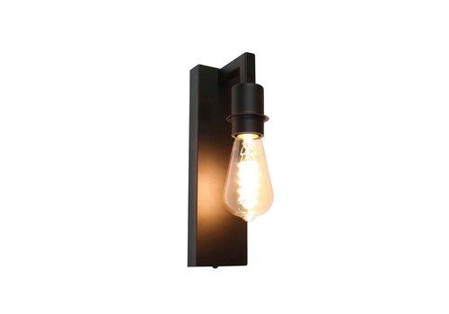 Artdelight Wandlamp Movano H 18 cm E27 zwart