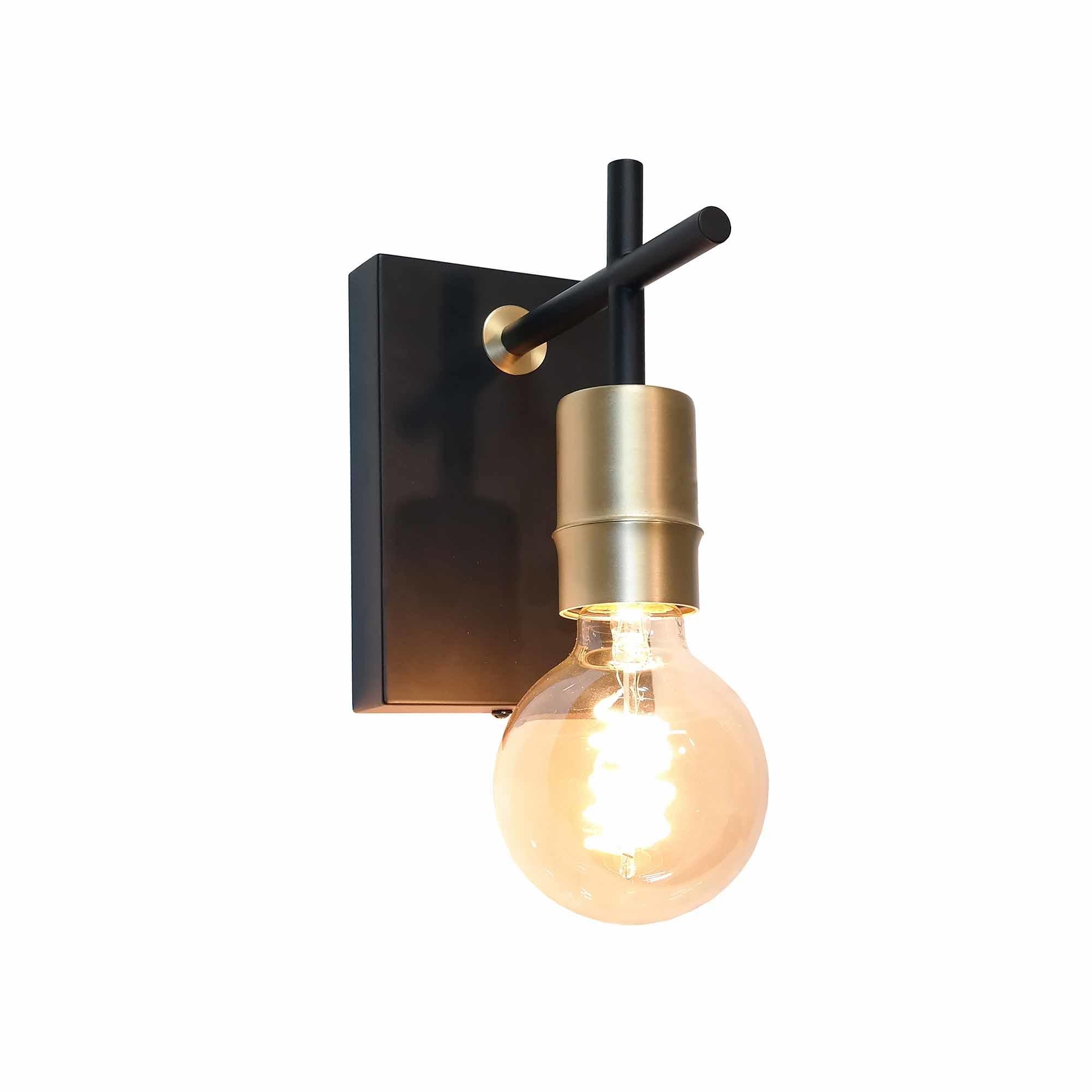 Artdelight Wandlamp Mokka H 15 cm E27 goud zwart