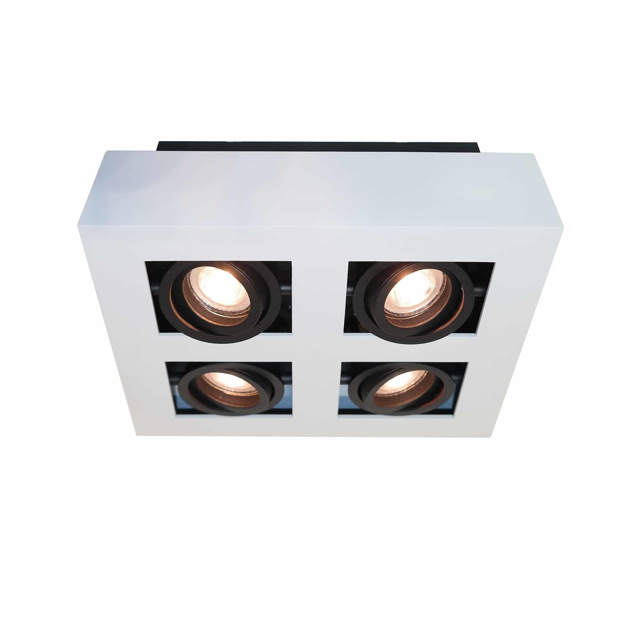 Artdelight Spot Bosco 4 lichts L 35 cm B 35 cm wit-zwart