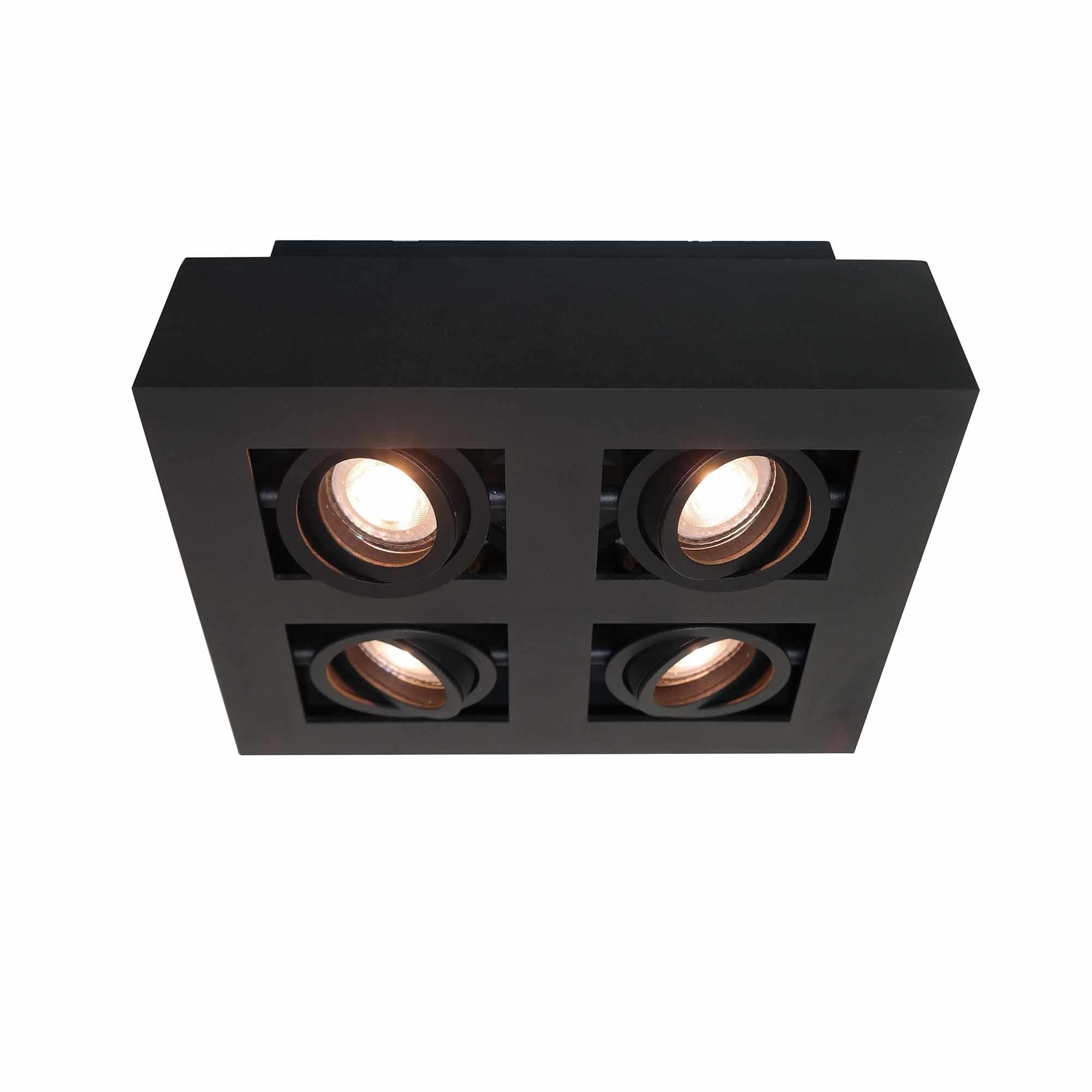 Artdelight Spot Bosco 4 lichts L 25 cm B 25 cm zwart