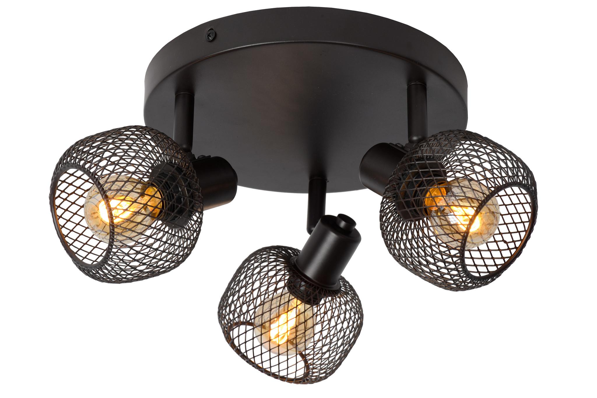 Lucide MAREN Plafondspot-Zwart-3xE14-40W-Metaal