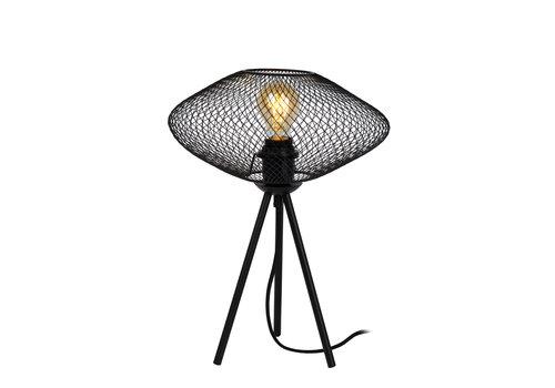 Lucide MESH Tafellamp-Zwart-Ø30-1xE27-40W-Metaal