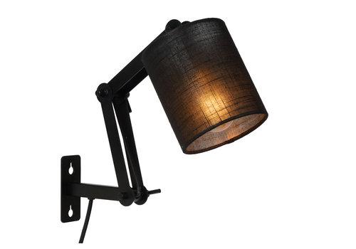 Lucide TAMPA Wandlamp-Zwart-Ø12-1xE27-40W-Metaal