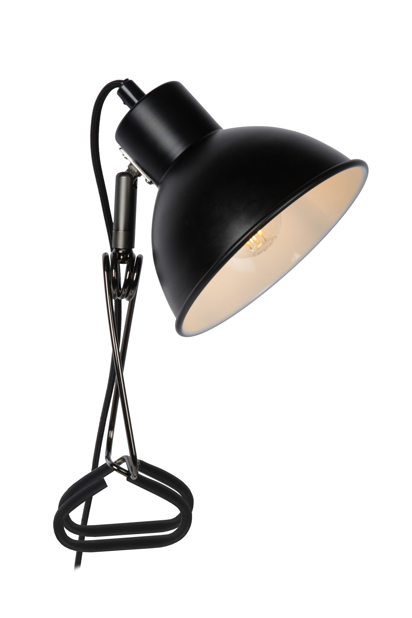 Lucide MOYS Klemlamp-Zwart-1xE27-40W-Staal