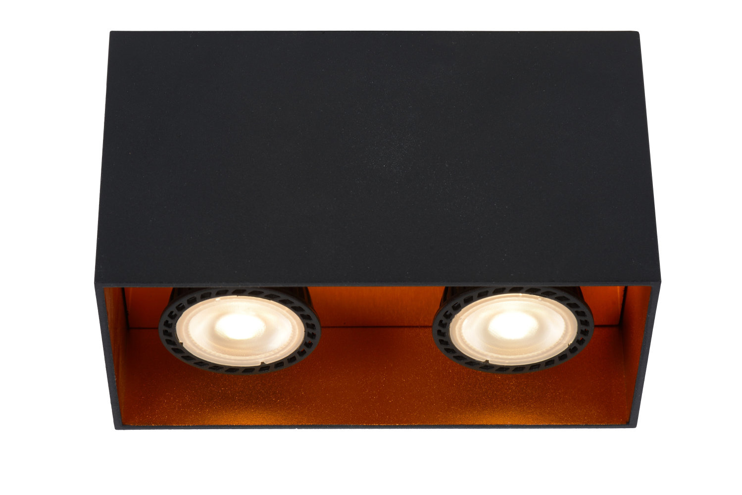 Lucide BIDO Plafondspot-Zwart-2xGU10-50W-Alumin.